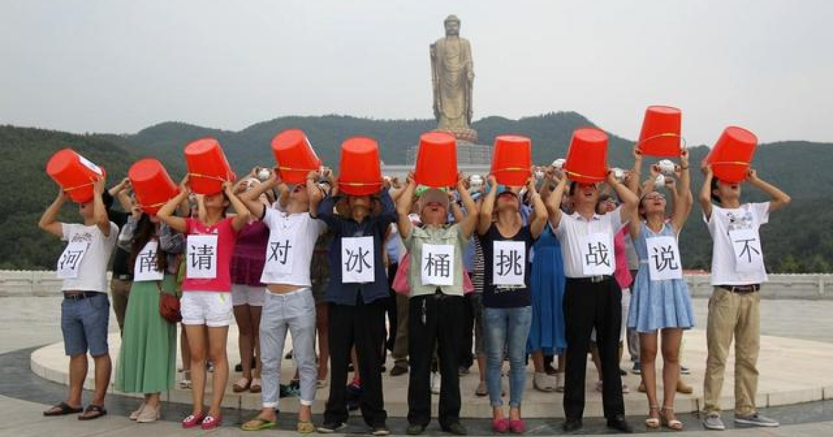 People in drought-stricken Henan province in central China protest the ALS #IceBucketChallenge, saying it's a waste of water.</p>