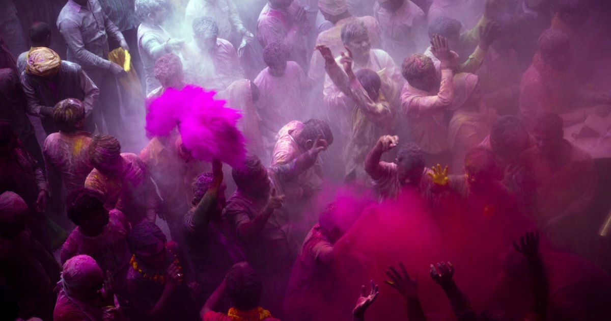 Hindu devotees play with colored powders during Holi celebrations at the Bankey Bihari Temple. India's status as a huge English-speaking democracy lures investors and executives, who often fail to appreciate the intricacies of Indian culture.</p>