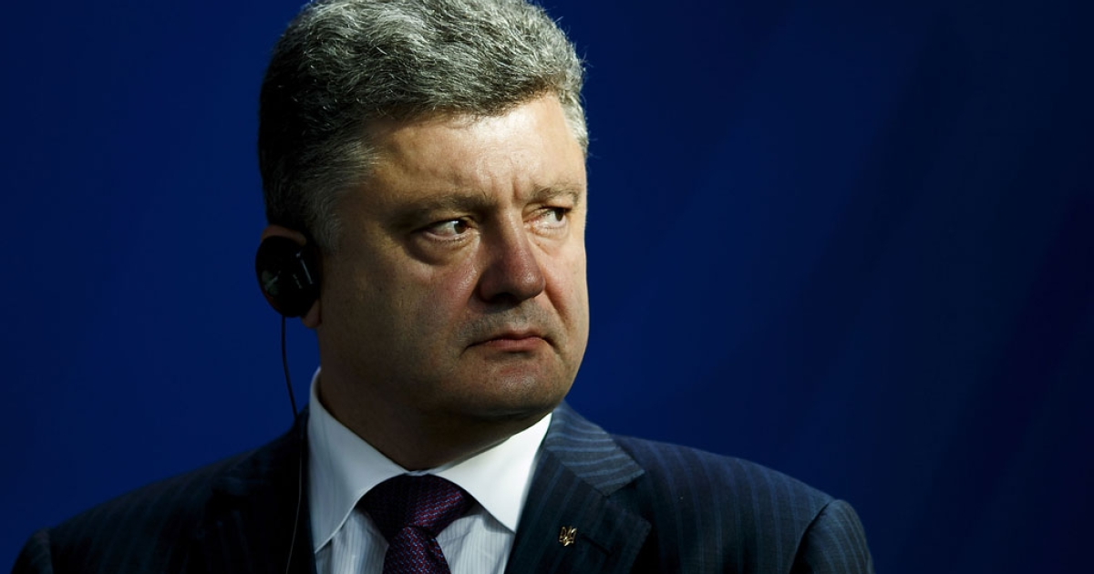 Ukrainian President Petro Poroshenko gives a statement to the media on June 5, 2015 in Berlin, Germany.</p>