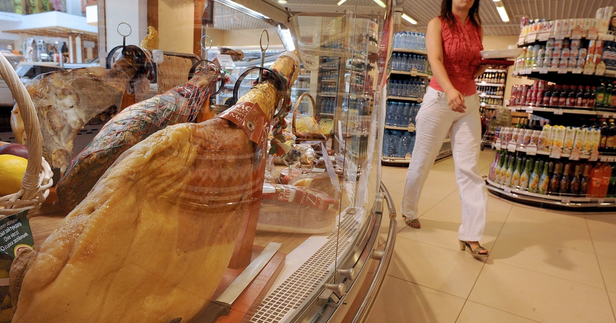 Get it while you still can: a supermarket in St. Petersburg.</p>
