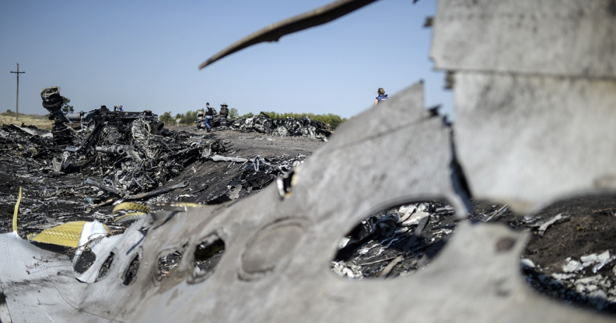 MH17 crash site in the village of Hrabove, Ukraine, Aug. 2, 2014.</p>