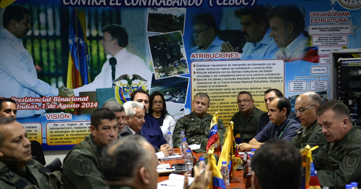 Members of the Binational Center for the Coordination of Operations Against Smuggling meet in San Cristobal, Venezuela, on Aug. 11, 2014.</p>