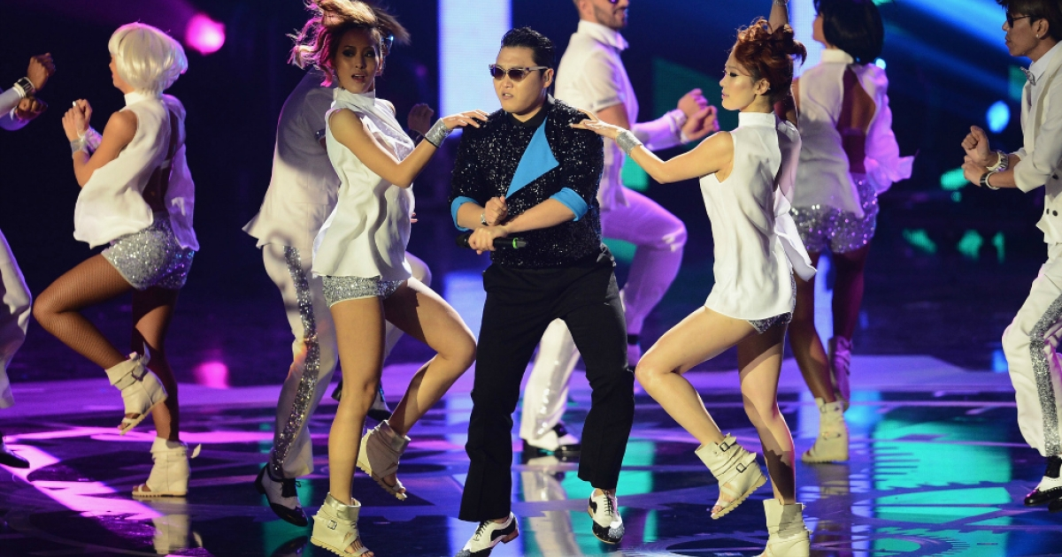 Psy performs 'Gangnam Style' onstage at the MTV EMA's 2012 at Festhalle Frankfurt on November 11, 2012.</p>