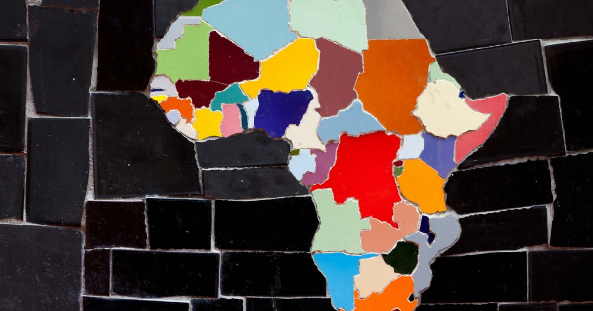 A colorful map of Africa made out of tiles.</p>