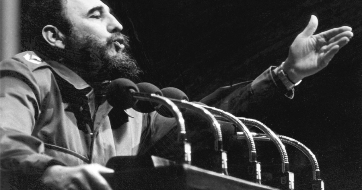 Fidel Castro addresses crowd in the 1970s in Havana.</p>