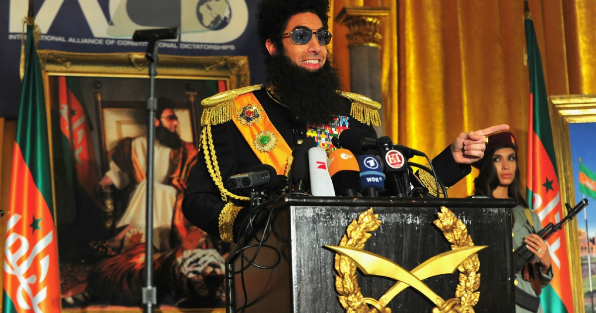 Sacha Baron Cohen as 'The Dictator' holds a press conference at The Waldorf-Astoria on May 7, 2012 in New York City.</p>