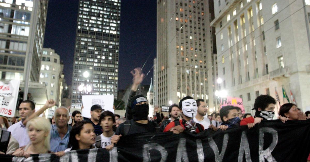 Students protest in Sao Paulo, Brazil.</p>