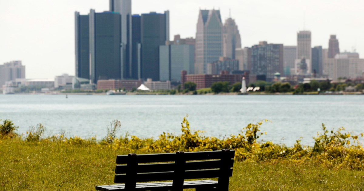 The Detroit skyline.</p>