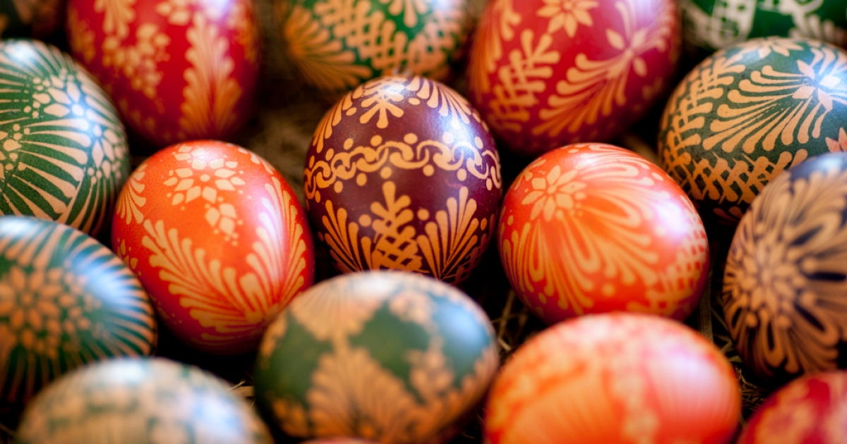 Painted Easter eggs with in traditional Sorbian motifs were on display at the annual Easter egg market on March 24, 2012 in Schleife, Germany.</p>