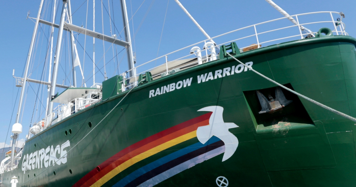 Greenpeace's Rainbow Warrior campaigning ship remains docked in the port of Acapulco in Mexico.</p>