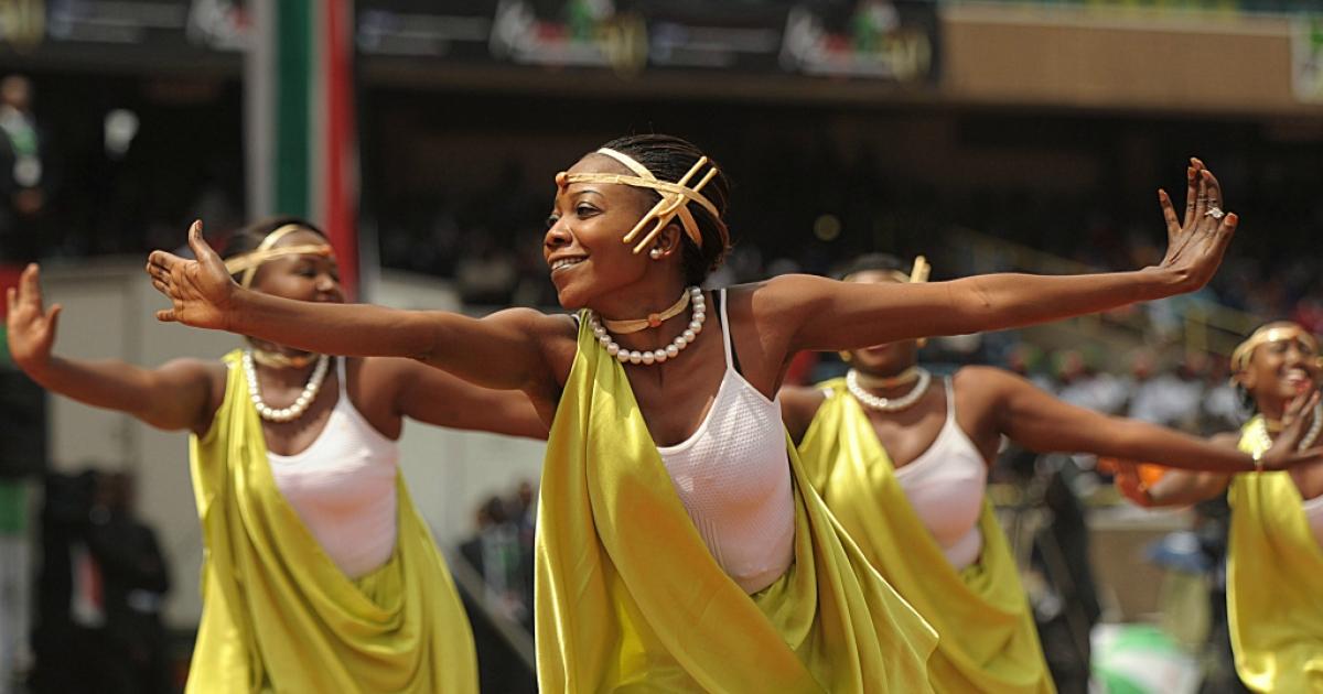 Dancers perform at the Kasarani stadium in Nairobi during celebrations marking Kenya's 50 years of independence on December 12, 2013.</p>