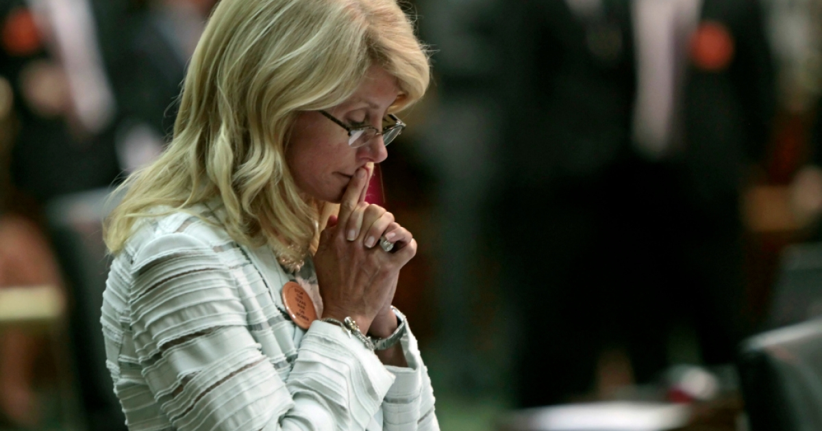 State Sen. Wendy Davis (D-Ft. Worth) contemplates her 13-hour filibuster after the Democrats defeated the anti-abortion bill SB5, which was up for a vote on the last day of the legislative special session June 25, 2013 in Austin, Texas. A combination of Sen. Davis' filibuster and protests by reproductive rights advocates helped to ultimately defeat the controversial abortion legislation at midnight.</p>