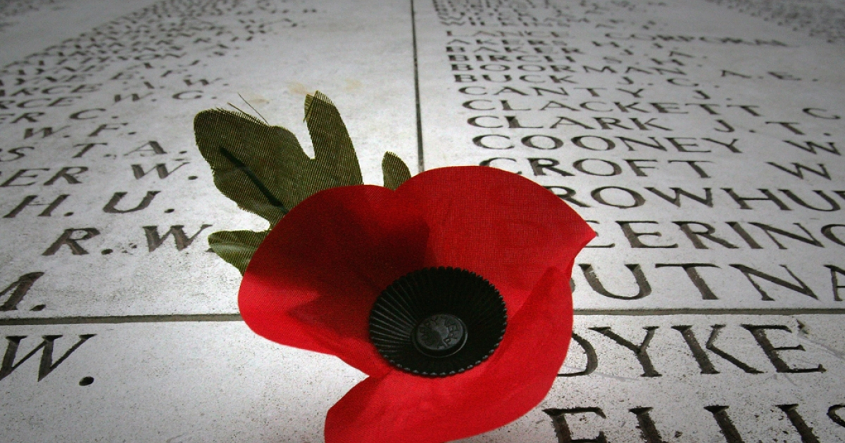 A poppy is left on a a wall displaying the names of the missing on the Menin Gate Memorial in Ypres, Belguim. The Commonwealth War Grave Commission manages 956 cemeteries in Belguim and France, which bear witness to the heavy human sacrifice made on the Western Front during the First World War and Second World War.</p>