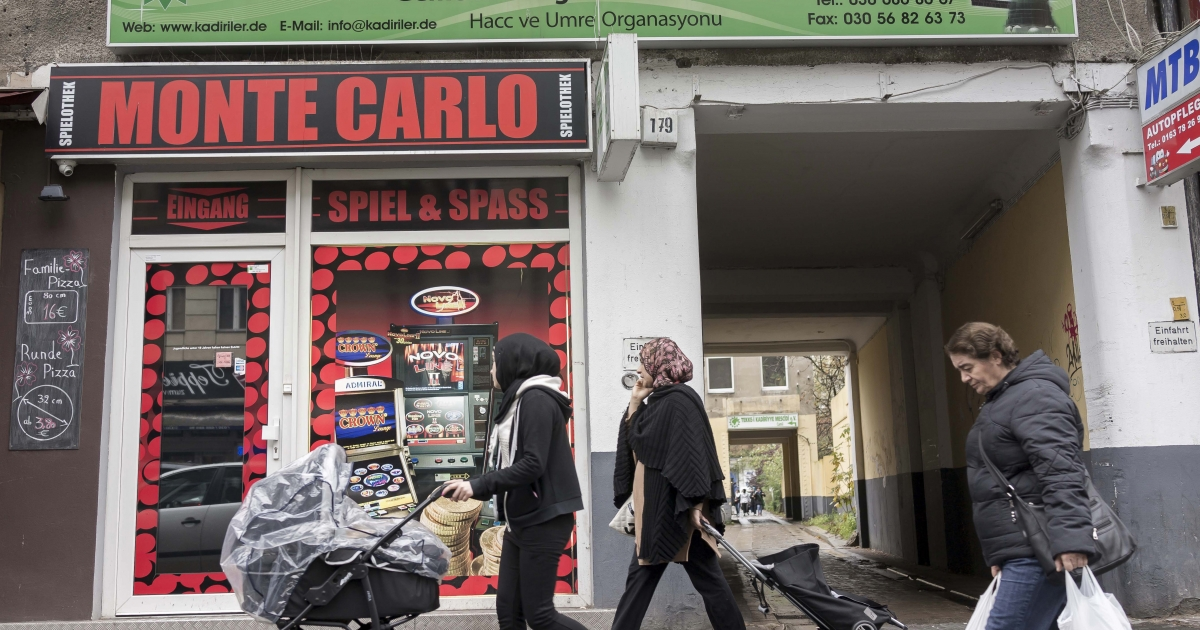 A casino on Karl-Marx Strasse.</p>