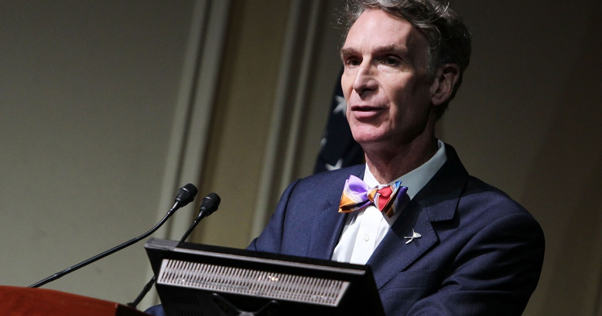 Bill Nye speaks at the Celebration of Carl Sagan at The Library of Congress on November 12, 2013 in Washington, DC.</p>