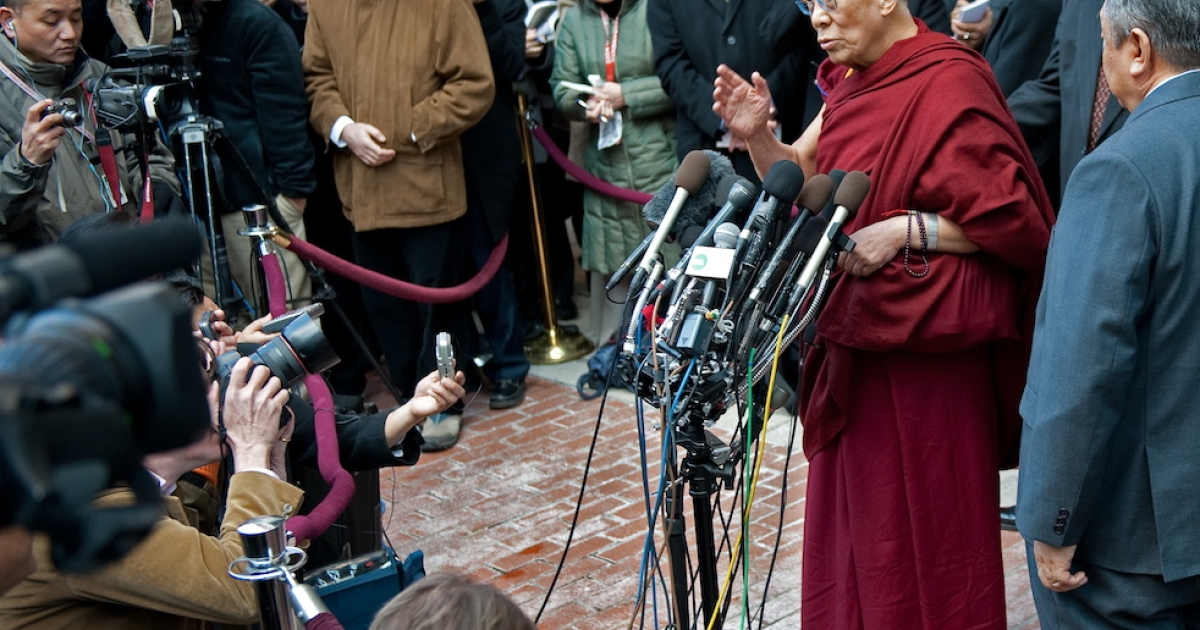 The Dalai Lama speaks to reporters outside a hotel in Washington, DC, on Feb. 18, 2010, after meeting with President Barack Obama and Secretary of State Hillary Clinton.</p>