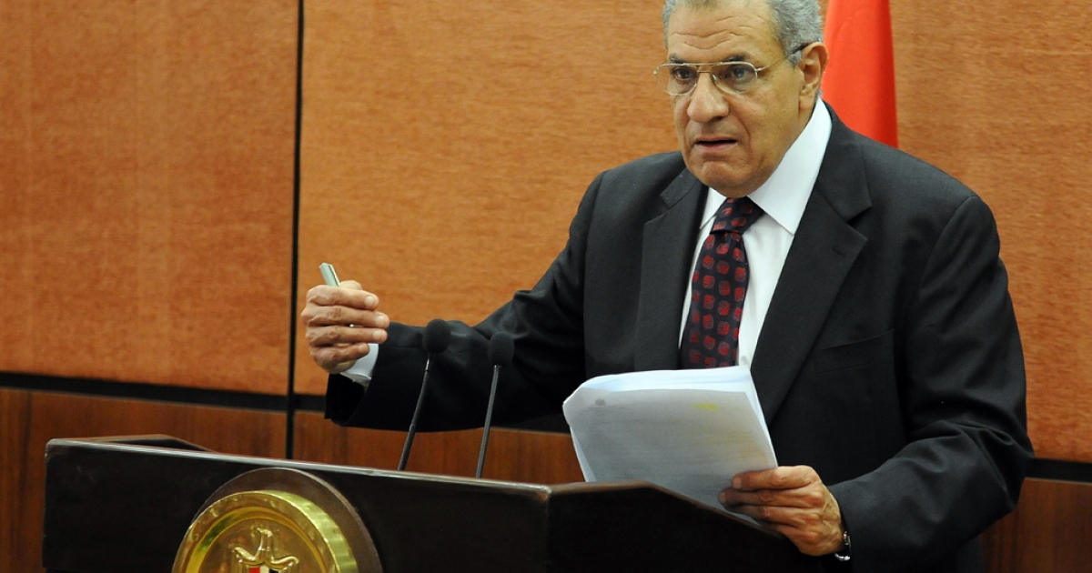 A file picture taken on January 16, 2014 shows Egypt's then housing minister Ibrahim Mahlab speaking during a press conference in Cairo on January 16, 2014.</p>