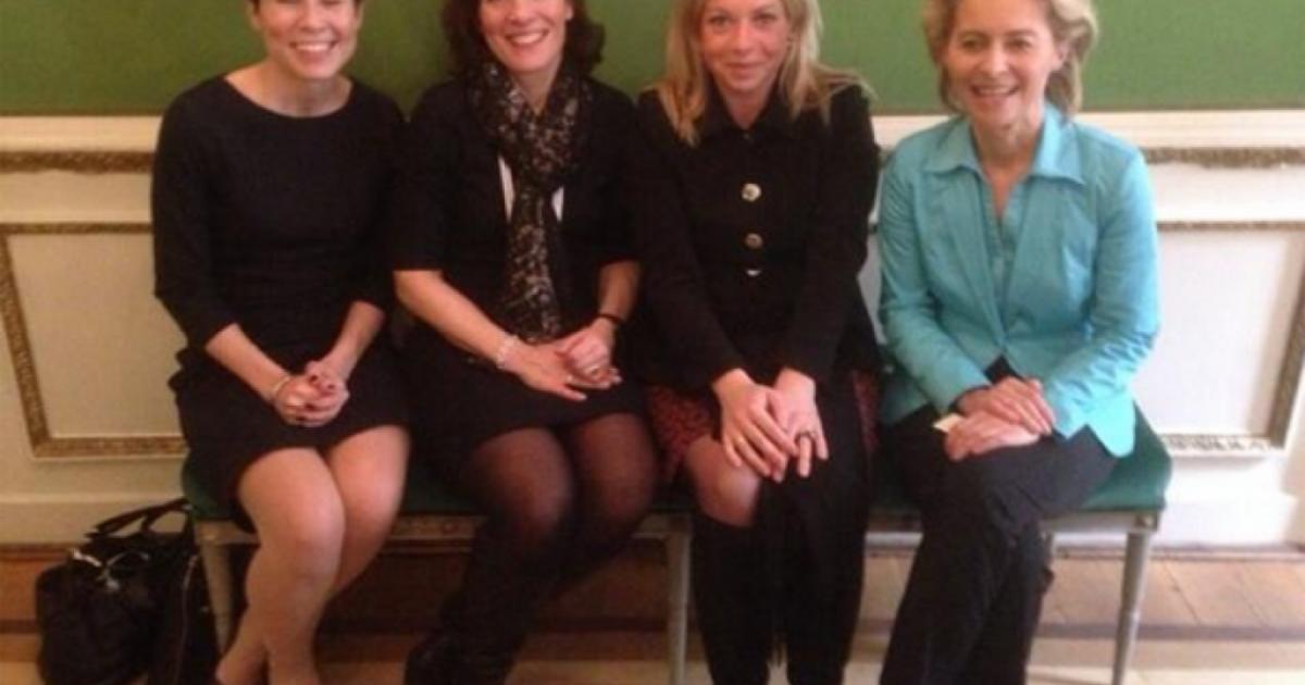 Four female defense ministers from left to right: Ine Eriksen Søreide (Norway), Karin Enström (Sweden), Jeanine Hennis-Plasschaert (Netherlands) and Ursula von der Leyen (Germany). Picture from Twitter.</p>
