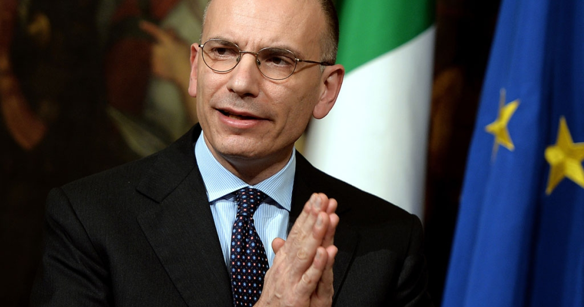Italian Prime Minister Enrico Letta presents a document called 'Italy commitment' with his proposals in Rome's Palazzo Chigi Palace government office at a press conference on Feb. 12, 2014.</p>
