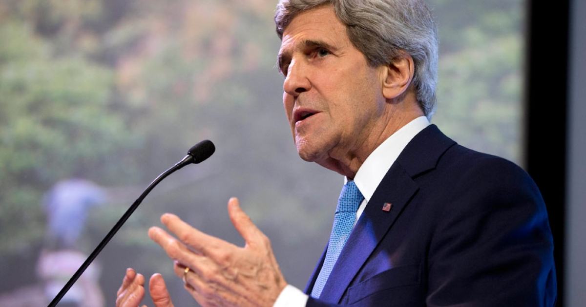 US Secretary of State John Kerry gestures during a speech in Jakarta on Feb. 16, 2014.</p>