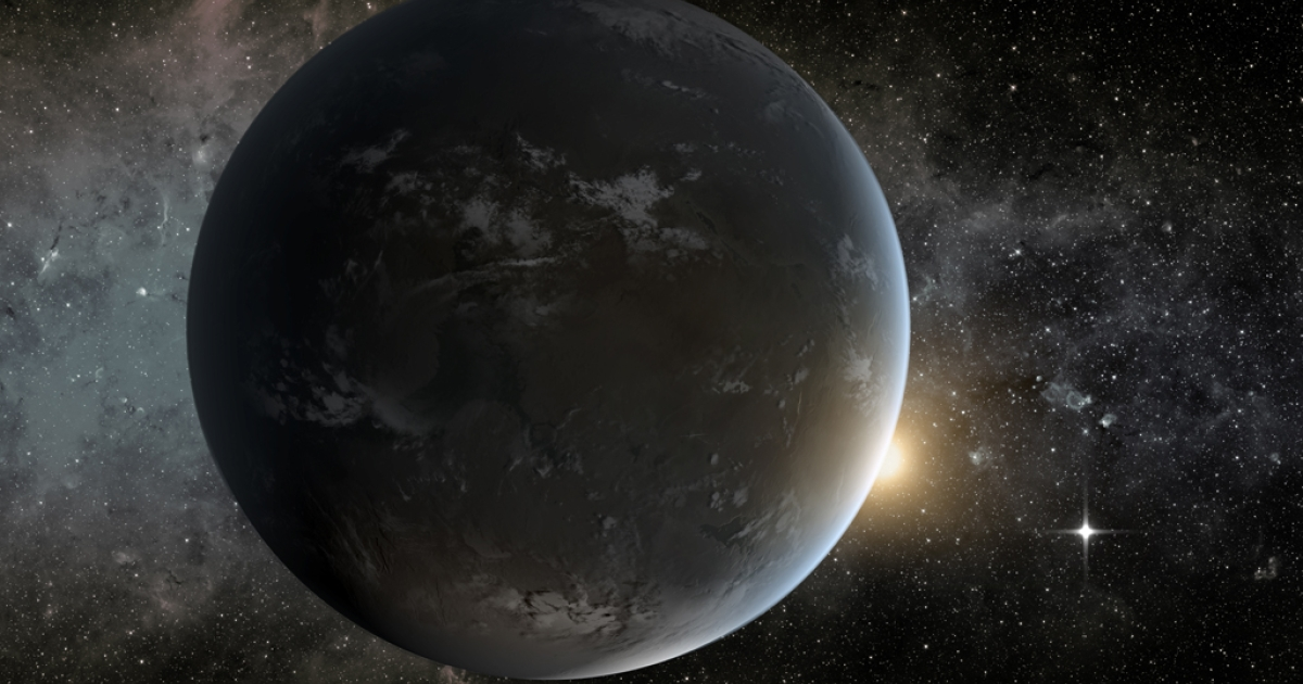 This artist's concept depicts the smallest habitable zone planet discovered by NASA's Kepler mission. Seen in the foreground is Kepler-62f, a super-Earth-size planet in the habitable zone of a star smaller and cooler than the sun, located about 1,200 light-years from Earth in the constellation Lyra.</p>