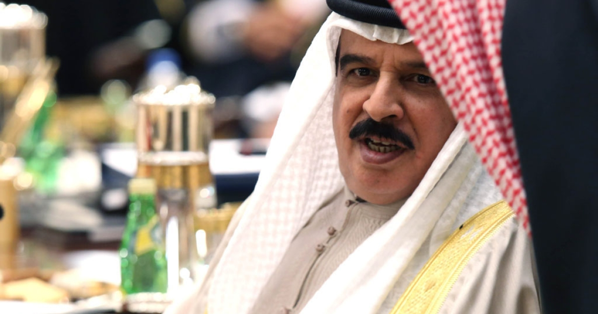 The King of Bahrain, Hamad bin Isa al-Khalifa, attends the 34th summit of the Gulf Cooperation Council (GCC) at the Bayan Royal Palace in Kuwait City on Dec. 10, 2013.</p>