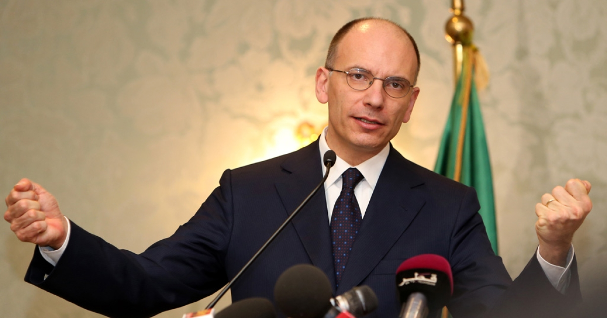 Italy's Prime Minister, Enrico Letta speaks during a press conference on February 3, 2014.</p>