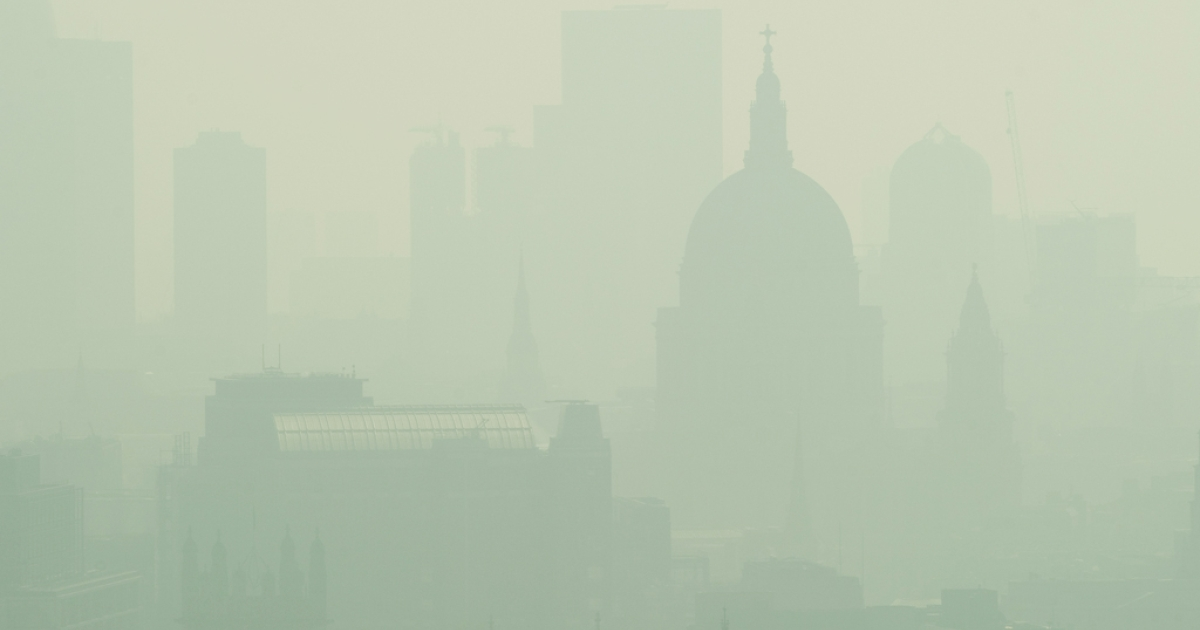 St. Paul's Cathedral is seen among the skyline through the smog in central London on April 22, 2011. The British Government have warned of potentially dangerous levels of air pollution with a