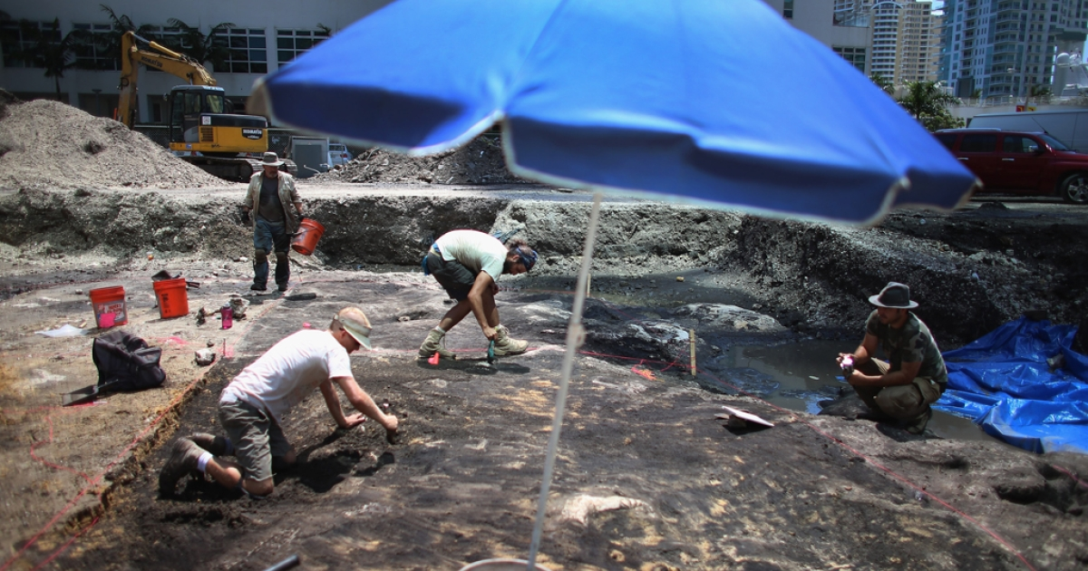 Archaeologists with the Archaeological and Historical Conservancy work on excavating a site where the conservancy found evidence that at one time, more than 1,000 years ago a Tequesta Indian village stood in Miami, Florida.</p>