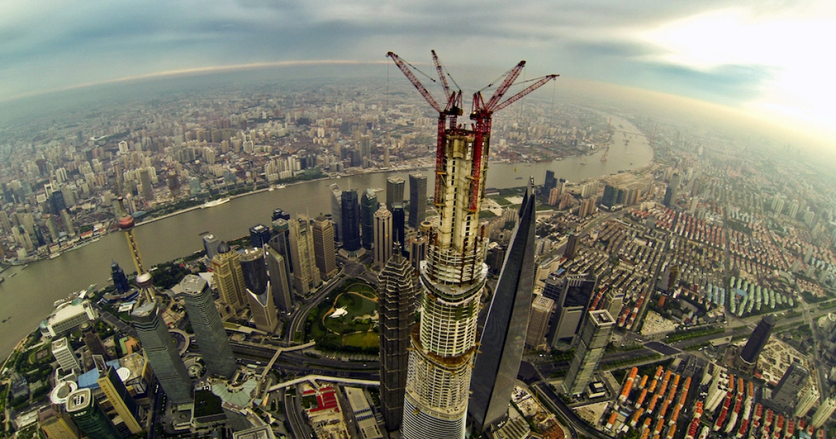 This photo taken on Aug. 4, 2013, shows a bird's eye view of the partially constructed Shanghai Tower. The 2,073-foot-high skyscraper is due to be completed later this year.</p>