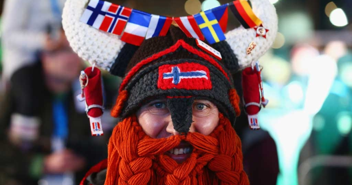SOCHI, RUSSIA - FEBRUARY 09: A Norway fan dressed as a viking smiles ahead of the medal ceremony on day 2 of the Sochi 2014 Winter Olympics at Medals Plaza on February 9, 2014 in Sochi, .  (Photo by Streeter Lecka/Getty Images)</p>