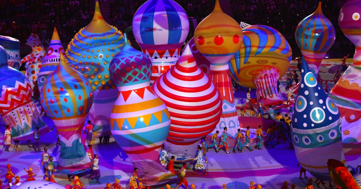 Dancers perform with inflated objects during the Opening Ceremony of the Sochi 2014 Winter Olympics at Fisht Olympic Stadium on February 7, 2014 in Sochi, Russia.</p>