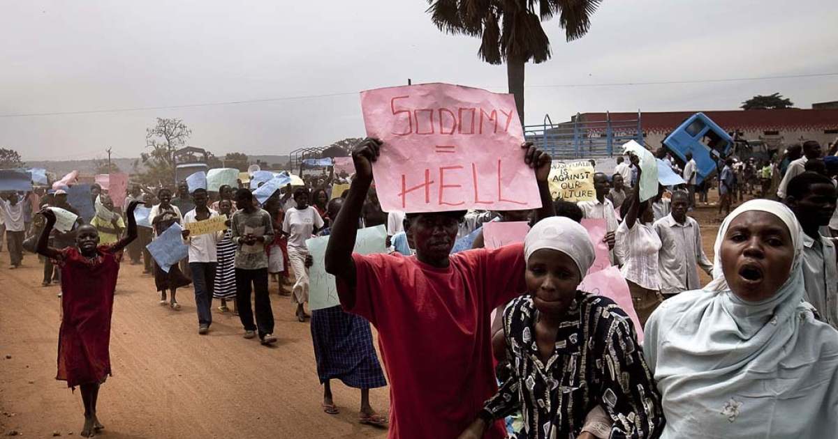 Ugandans taking part in an anti-gay demonstration at Jinja, Kampala, Feb. 14, 2010.</p>
