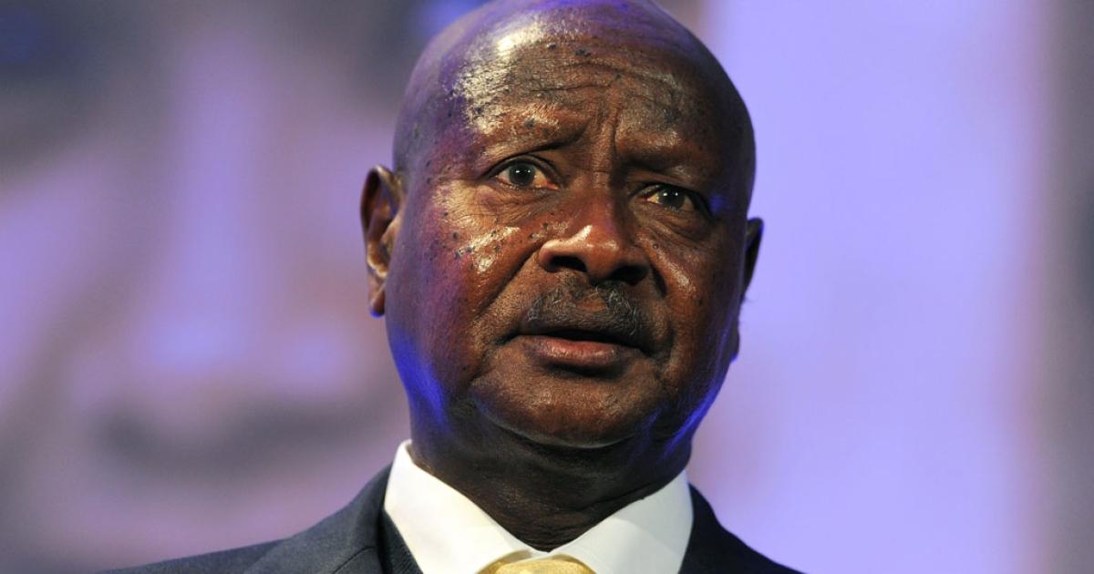 Ugandan President Yoweri Museveni speaks during the London Summit on Family Planning on July 11, 2012 in England.</p>