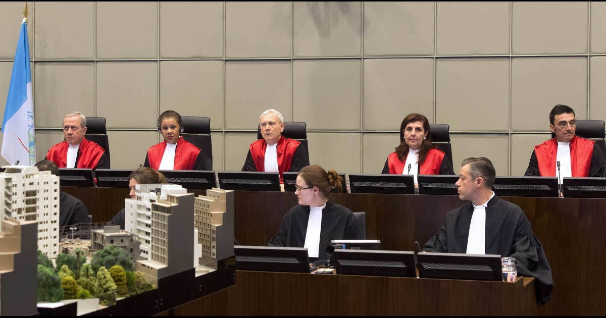 Judges Walid Akoum, Janet Nosworthy, David Re, Micheline Braidy and Nicola Lettier preside over the first hearing in the trial of four people accused of murdering former Lebanese premier Rafiq Hariri at the Special Tribunal for Lebanon in The Hague.</p>