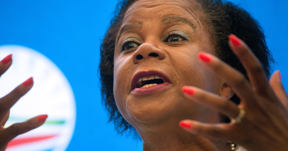 Mamphela Ramphele speaks at a press conference where she was announced as the Democratic Alliance (DA) Presidential candidate for the upcoming 2014 South African elections.</p>