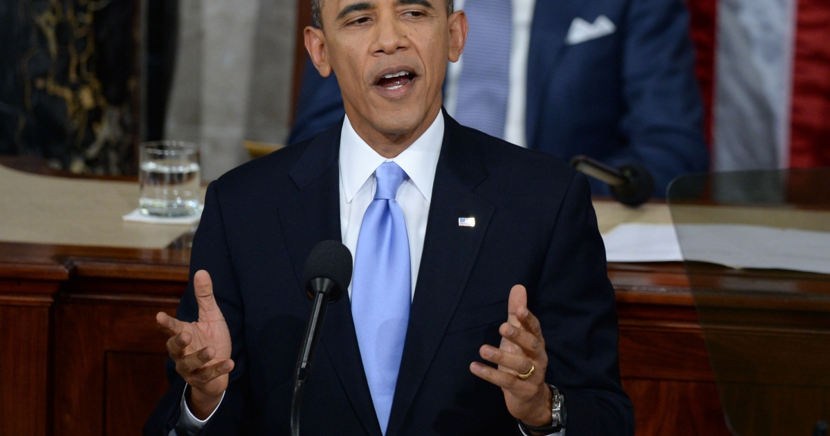 President Barack Obama delivers his State of the Union address before a joint session of Congress on Jan. 28, 2014, in Washington, DC.</p>