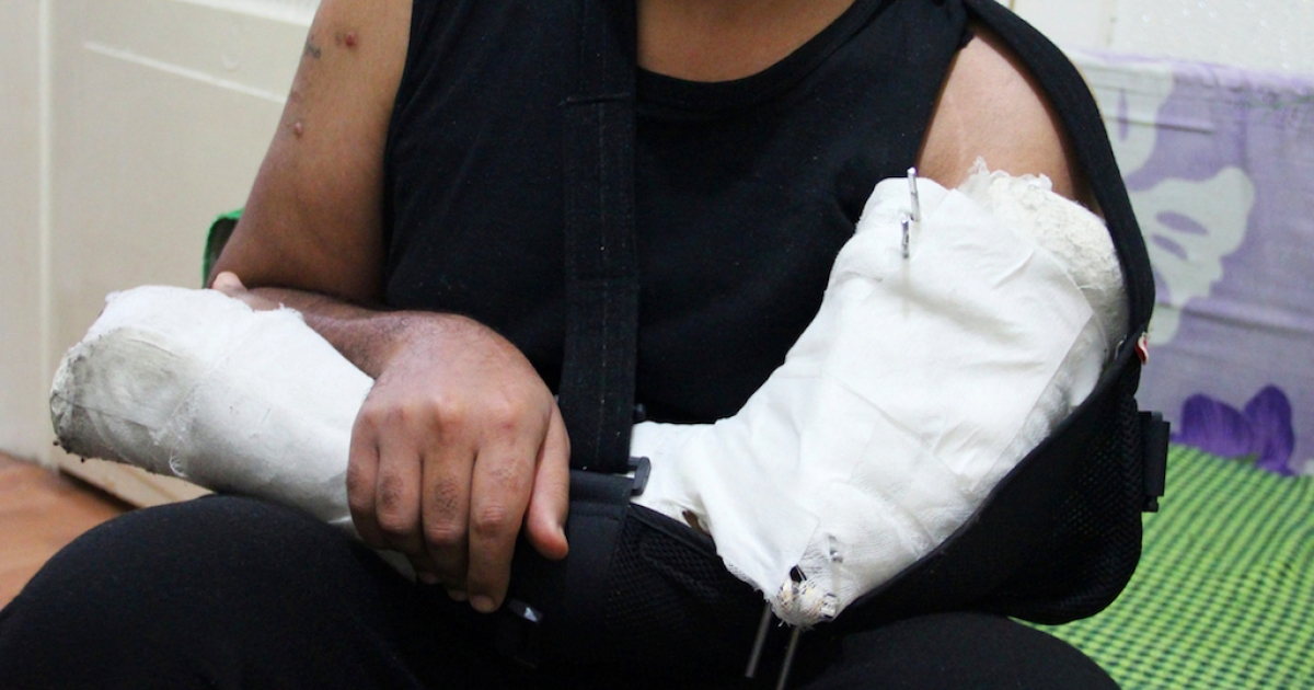 Abu Mahmoud, 27, from the eastern Syrian city of Deir Ez Zour, had his left arm mangled during a government air strike on his city last November. A Turkish doctor told him an operation to help repair his arm would cost $5000.</p>
