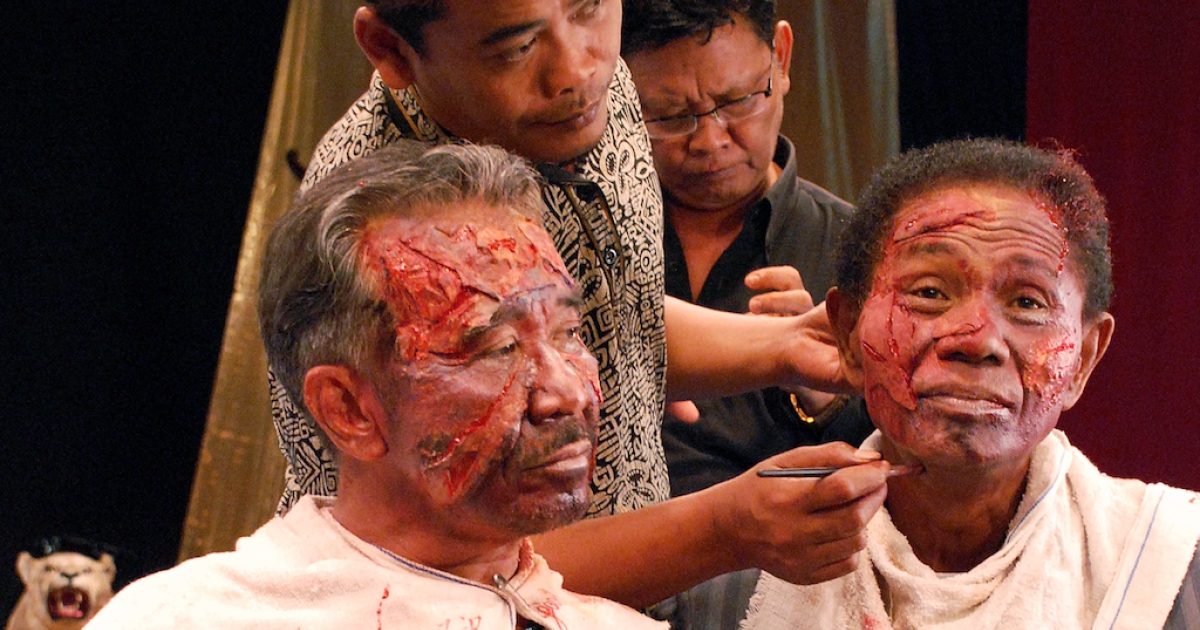 Makeup art during the filming of