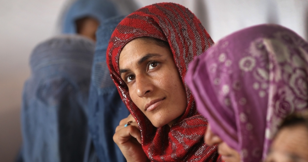 Afghan women listen during an animal husbandry class in Kabul.</p>