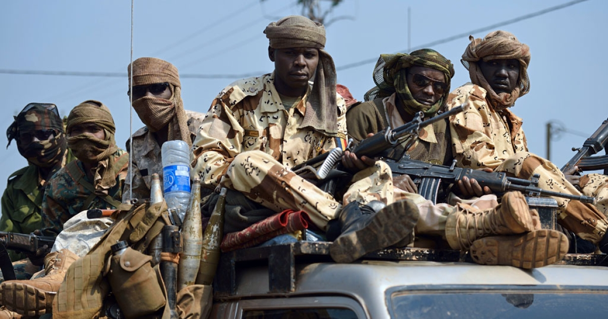 Chadian troops of the African-led International Support Mission to the Central African Republic (MISCA) patrol following the resignation of the Central African Republic president in Bangui on January 10, 2014. Michel Djotodia stepped down under regional pressure after failing to stem sectarian violence ripping his country apart.</p>