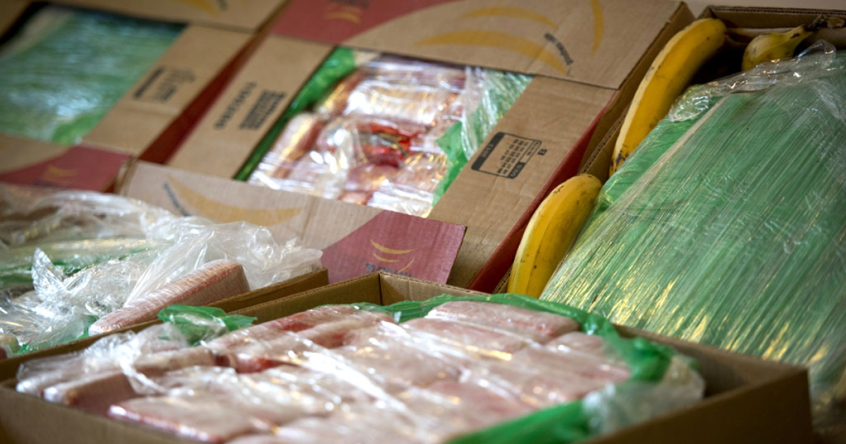 Seized cocaine in crates of imported bananas is seen at the Federal Police Headquarters in Berlin on January 7, 2014.</p>