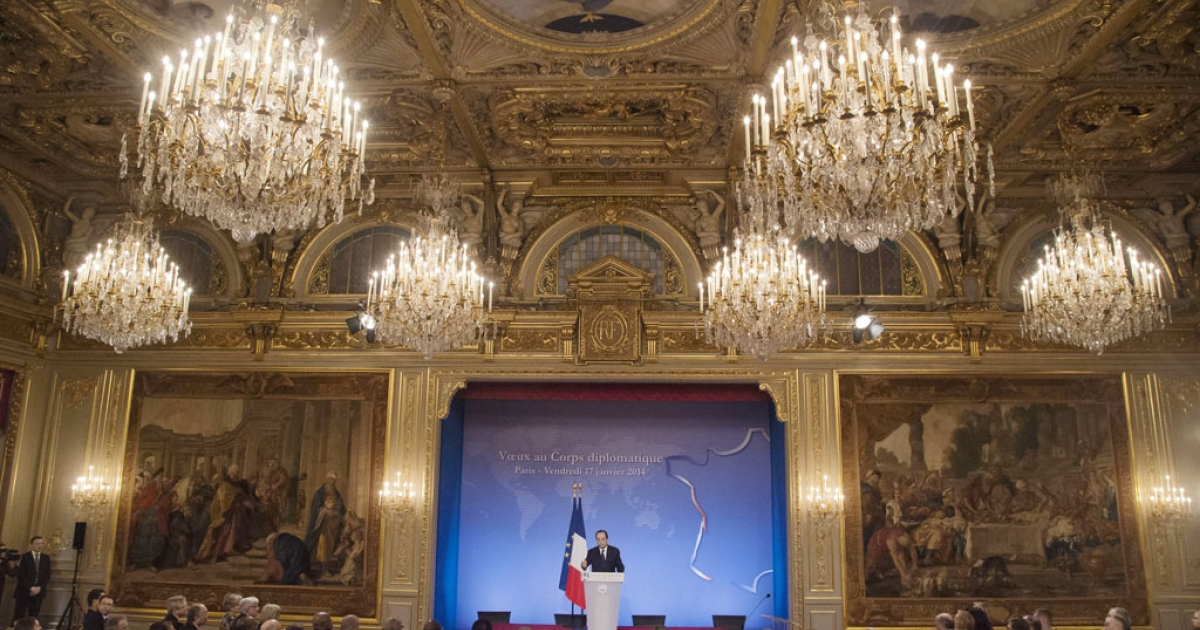 French President Francois Hollande speaks to foreign ambassadors in the Elysee Palace in Paris on January 17, 2014.</p>