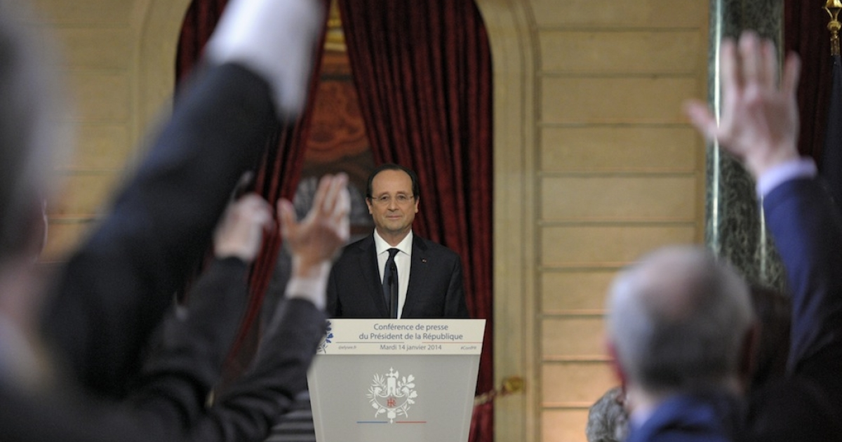 French President Francois Hollande faces the media during a news conference at the Elysee Palace on Tuesday, which marked his first public appearance since news of his alleged affair with a French actress became public.</p>