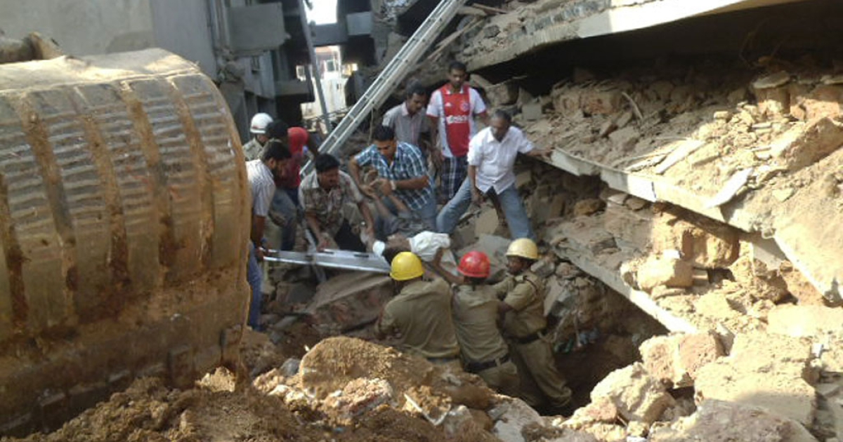 A collapsed building under construction in Goa, India, Jan. 4, 2014.</p>