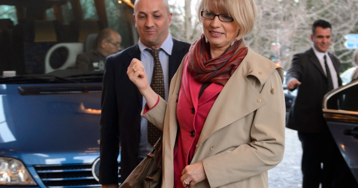EU foreign policy deputy chief Helga Schmid arrives on January 9, 2014 at the Intercontinental Hotel in Geneva for high-level nuclear talks with Iran. Iran and world powers discussed how to implement a landmark deal aimed at containing Tehran's nuclear drive.</p>