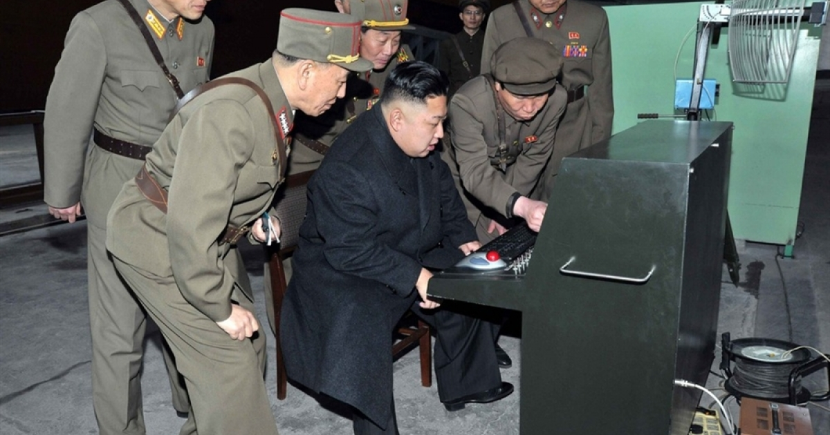 Kim Jong Un looks at the latest equipment made by the Korean People's Army on March 24, 2013.</p>