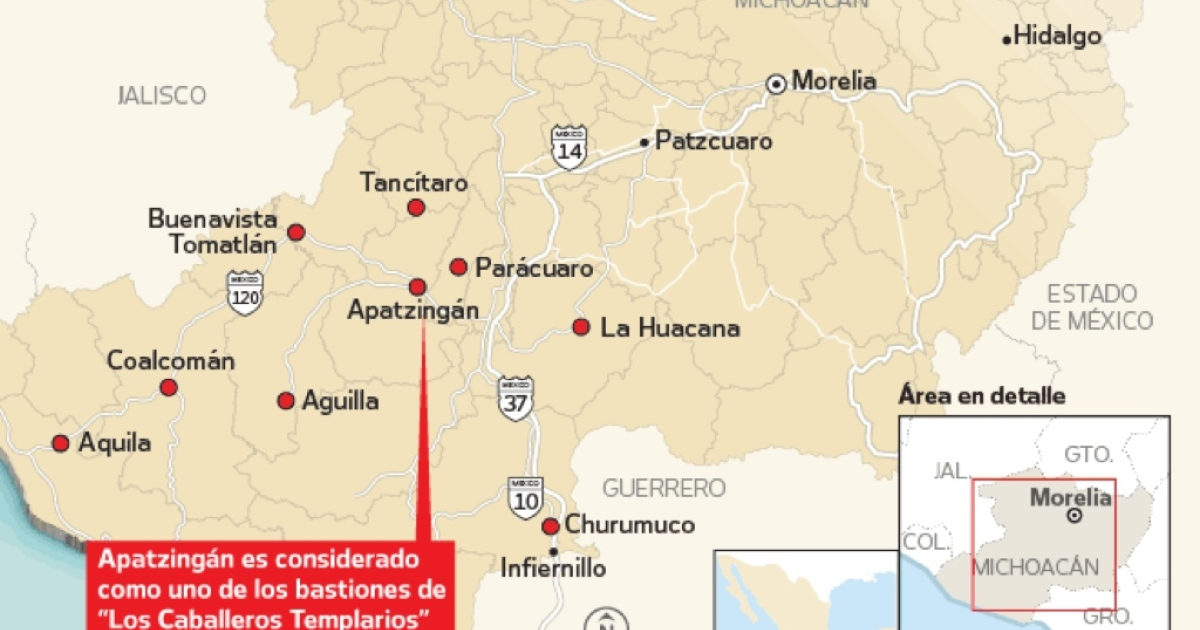 Self-defense groups have surged in western Mexico's Michoacan state, fighting gangs in at least 70 communities in 25 municipalities. (The Spanish text says
