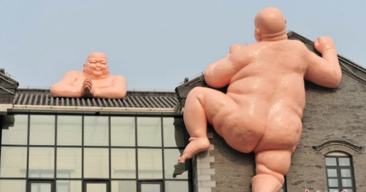 Sculptures of naked Buddhas in Jinan, China.</p>