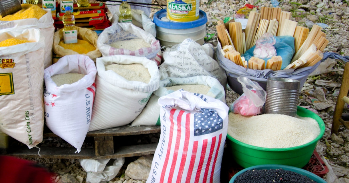 Sacks of American rice for sale at a Port-au-Prince market.</p>